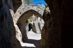 St. Hilarion Fortress. Ruins of St. Hilarion castle erected in late 11th century in Cyprus stock photos