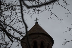 St. Holy Mother of God Church cross with trees Royalty Free Stock Photo
