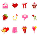 St. Iconos del día de tarjeta del día de San Valentín Fotografía de archivo libre de regalías
