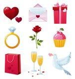 St. Iconos del día de tarjeta del día de San Valentín ilustración del vector