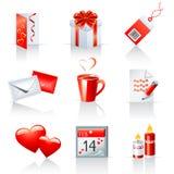 St. Iconos del día de tarjeta del día de San Valentín Fotografía de archivo