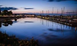 St. Ignace Boardwalk And Marina. St. Ignace, Michigan, USA. July 17, 2015 - The coastal town of St. Ignace marina and boardwalk. St. Ignace is a popular tourist royalty free stock image