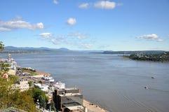 Il fiume San Lorenzo a Québec fotografie stock libere da diritti