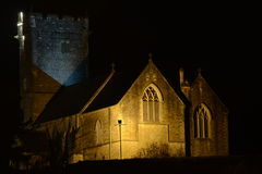 St Illtyds church, Bridgend, floodlit at night. St Illtyds church, Oldcastle hill , Bridgend . South Wales royalty free stock photography
