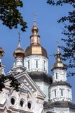 St. Intercession Monastery in Kharkiv, Ukraine. Complex of buildings St. Intercession orthodox Monastery in Kharkiv, Ukraine, in a summer day Stock Photo