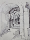 St. Irene christian church interior in Istanbul, Turkey. Ink drawing sketch on toned paper Stock Photos