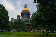 St. Isaac Cathedral. RUSSIA, SAINT PETERSBURG - AUGUST 18, 2017: St. Isaac`s Cathedral on Isaac square in St. Petersburg, Russian Federation Stock Photography