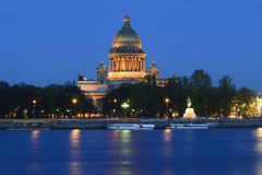St. Isaac's Cathedral. View of St. Isaac's Cathedral in the white nights Stock Images