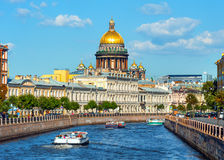 St Isaac's Cathedral across Moyka river Royalty Free Stock Photo