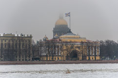 St. Isaac`s Cathedral and Admiralty building in Saint Petersburg Royalty Free Stock Photography