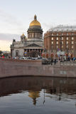 St. Isaac`s Cathedral and the Astoria hotel Royalty Free Stock Photo