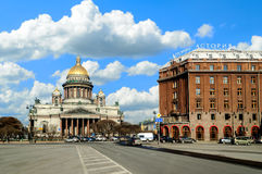 St. Isaac's Cathedral and Astoria hotel Royalty Free Stock Photo