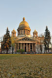 St. Isaac's Cathedral in autumn, yellow leaves Stock Photography