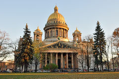 St. Isaac's Cathedral in autumn, yellow leaves Stock Images