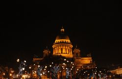 St. Isaac`s Cathedral and Christmas lights stock images