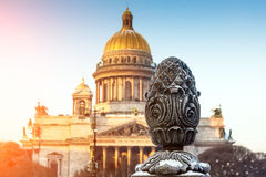 St. Isaac`s Cathedral and clear sky fence close-up of old houses St. Petersburg Stock Photo