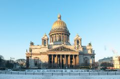 St. Isaac`s Cathedral on a clear winter day. St. Petersburg. Rus Stock Photo