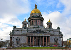 St. Isaac's Cathedral cloudy day under the clouds stock photo
