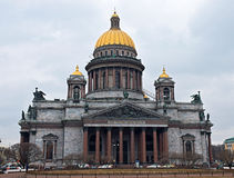 St. Isaac's Cathedral cloudy day under the clouds Royalty Free Stock Image
