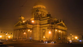 St. Isaac`s Cathedral, foggy March night. Saint Petersburg stock footage