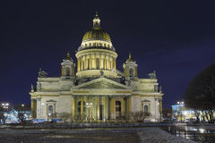 St. Isaac's Cathedral illuminated at night in the winter Royalty Free Stock Photo