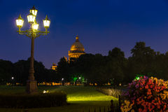 St. Isaac's Cathedral are illuminated in the rain Royalty Free Stock Image