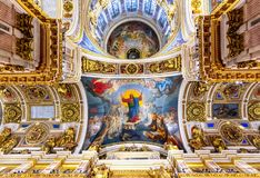 St. Isaac`s Cathedral interiors, Saint Petersburg, Russia stock image