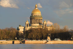 The St. Isaac's Cathedral in the light of  setting sun of the April evening. Saint Petersburg Royalty Free Stock Photography
