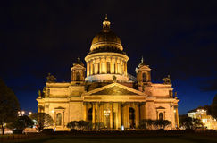 St. Isaac's Cathedral in May, night, illuminated Stock Image