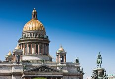 St Isaac's Cathedral and Monument Nicolas I Royalty Free Stock Photography