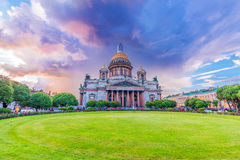 St. Isaac`s Cathedral is the most famous church in St. Petersburg Stock Photo