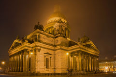St. Isaac`s Cathedral in a mystical fog on the March night. Saint-Petersburg, Russia Royalty Free Stock Photo