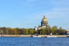 St. Isaac's Cathedral and Neva river Stock Image