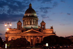St. Isaac's Cathedral at night Stock Images