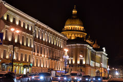 St. Isaac's Cathedral at night Stock Photography