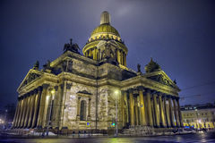 St. Isaac`s Cathedral at night Stock Image
