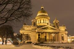 St. Isaac's Cathedral at night, Saint-Petersburg Royalty Free Stock Image