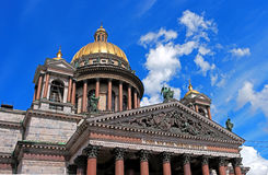 St. Isaac's Cathedral. St. Petersburg, St. Isaac's Cathedral, close-up dome and pediment Stock Photo