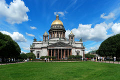 St. Isaac's Cathedral. St. Petersburg, St. Isaac's Cathedral, in the foreground grassy lawn Stock Images