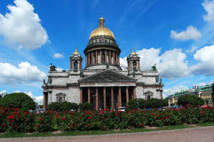 St. Isaac's Cathedral. St. Petersburg, St. Isaac's Cathedral, in the foreground ornamental shrubs Stock Image