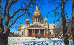 St. Isaac`s Cathedral in St. Petersburg. In winter Royalty Free Stock Photo