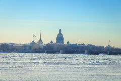 St. Isaac`s Cathedral in St. Petersburg i. N winter Royalty Free Stock Images