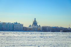 St. Isaac`s Cathedral in St. Petersburg i. N winter Stock Images