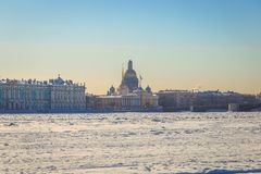 St. Isaac`s Cathedral in St. Petersburg i. N winter Stock Photo
