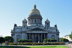 St. Isaac's Cathedral and red roses on the square bright Sunny d Royalty Free Stock Images