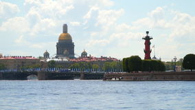 St. Isaac`s Cathedral, Rostral Column and the Palace Bridge in St. Petersburg stock footage