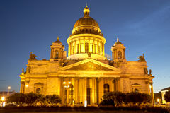 St. Isaac's Cathedral in Saint-Petersburg at night Royalty Free Stock Photos