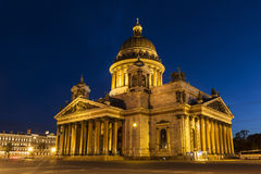 St. Isaac's Cathedral in Saint-Petersburg at night Royalty Free Stock Photo