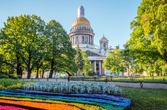 St. Isaac`s Cathedral in Saint-Petersburg, Pebbles in the form of a rainbow. Stock Photo
