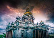 St Isaac`s Cathedral, Saint Petersburg, Russian Federation. On a stormy dy with a dramatic sky Royalty Free Stock Photo